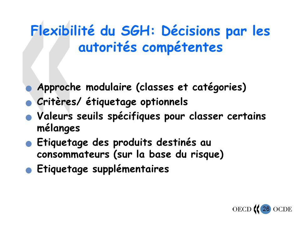 26 Flexibilité du SGH: Décisions par les autorités compétentes Approche modulaire (classes et catégories) Critères/ étiquetage optionnels Valeurs seuils spécifiques pour classer certains mélanges Etiquetage des produits destinés au consommateurs (sur la base du risque) Etiquetage supplémentaires