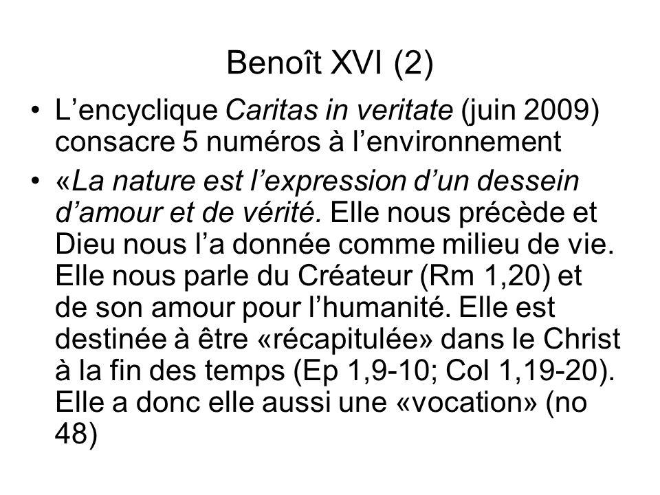 Benoît XVI (2) Lencyclique Caritas in veritate (juin 2009) consacre 5 numéros à lenvironnement «La nature est lexpression dun dessein damour et de vér