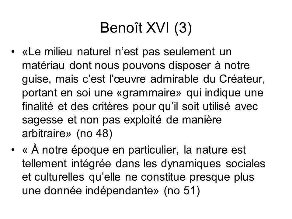 Benoît XVI (3) «Le milieu naturel nest pas seulement un matériau dont nous pouvons disposer à notre guise, mais cest lœuvre admirable du Créateur, por
