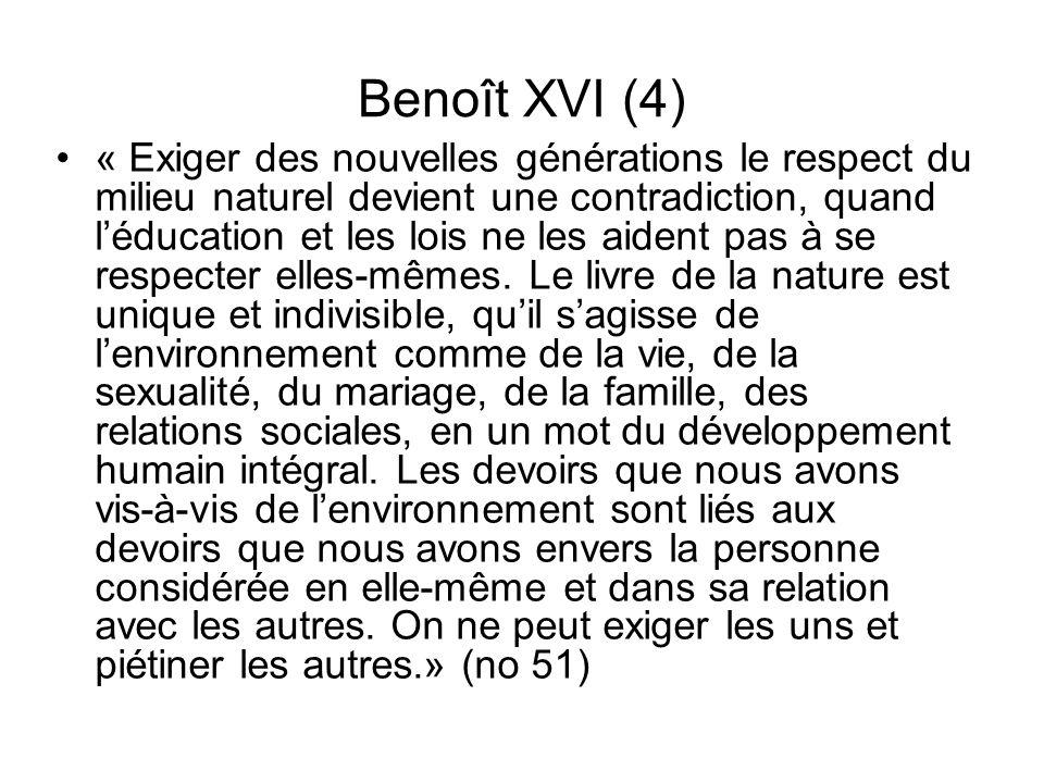 Benoît XVI (4) « Exiger des nouvelles générations le respect du milieu naturel devient une contradiction, quand léducation et les lois ne les aident p