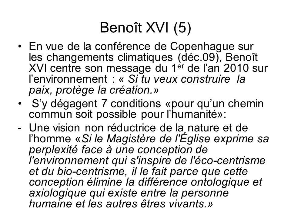 Benoît XVI (5) En vue de la conférence de Copenhague sur les changements climatiques (déc.09), Benoît XVI centre son message du 1 er de lan 2010 sur l