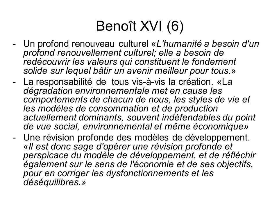 Benoît XVI (6) -Un profond renouveau culturel «L'humanité a besoin d'un profond renouvellement culturel; elle a besoin de redécouvrir les valeurs qui