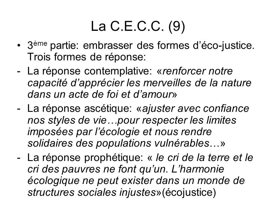 La C.E.C.C. (9) 3 ème partie: embrasser des formes déco-justice. Trois formes de réponse: -La réponse contemplative: «renforcer notre capacité dappréc