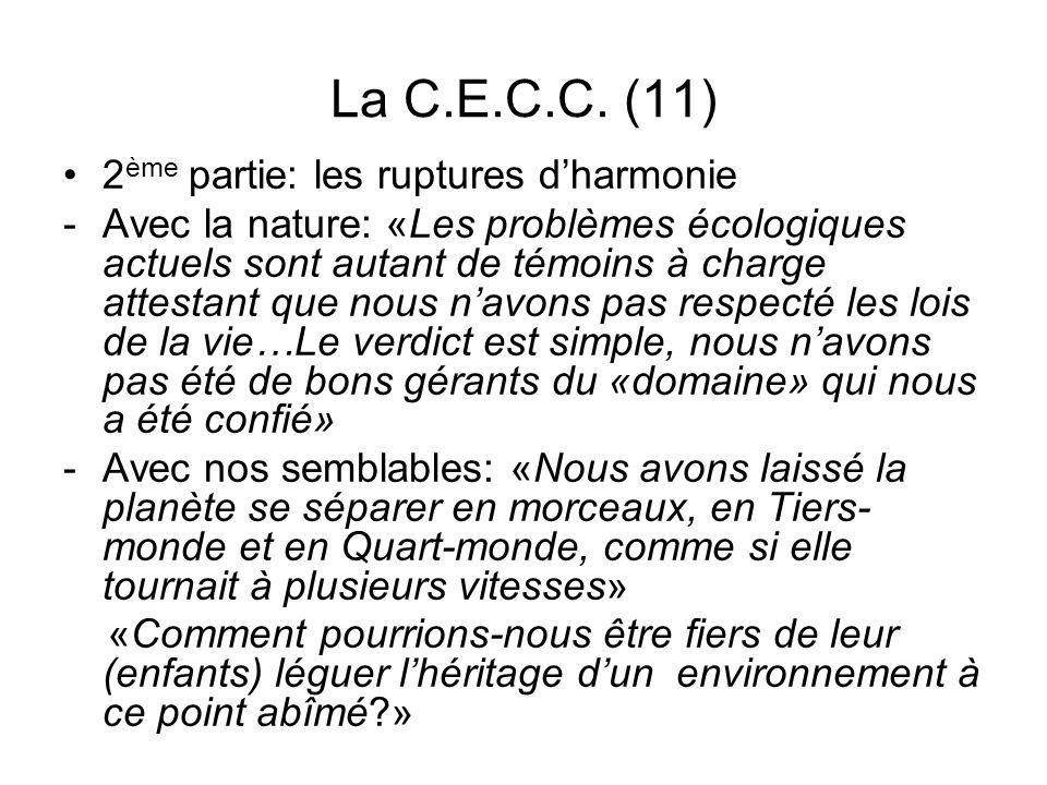 La C.E.C.C. (11) 2 ème partie: les ruptures dharmonie -Avec la nature: «Les problèmes écologiques actuels sont autant de témoins à charge attestant qu