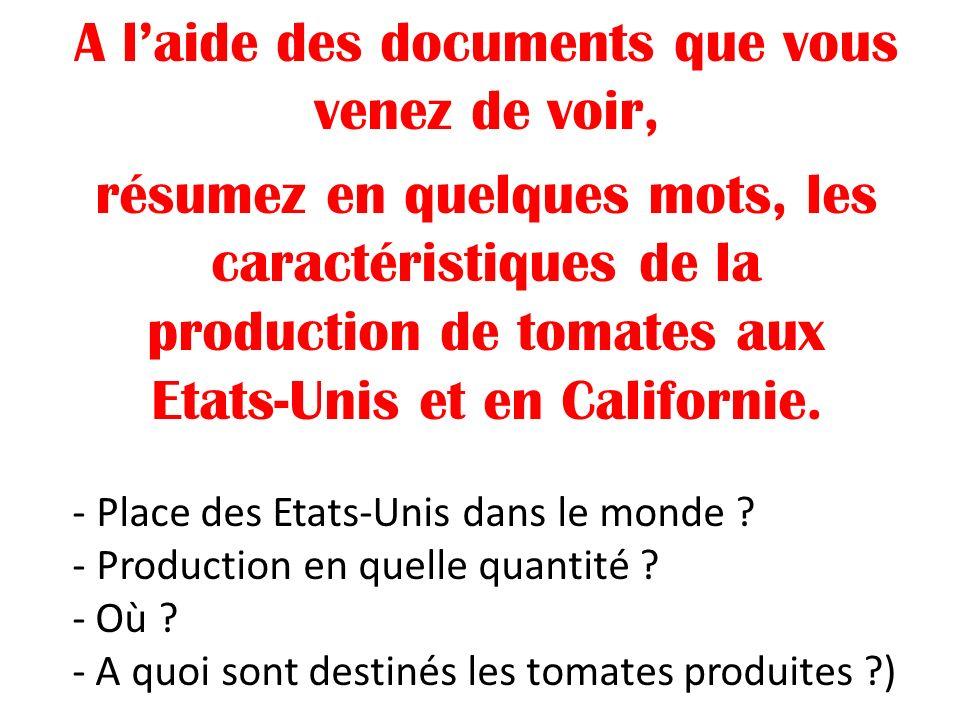 A laide des documents que vous venez de voir, résumez en quelques mots, les caractéristiques de la production de tomates aux Etats-Unis et en Californ