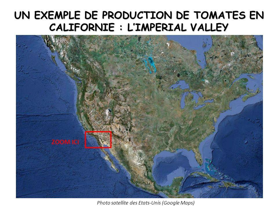 UN EXEMPLE DE PRODUCTION DE TOMATES EN CALIFORNIE : LIMPERIAL VALLEY Photo satellite des Etats-Unis (Google Maps) ZOOM ICI