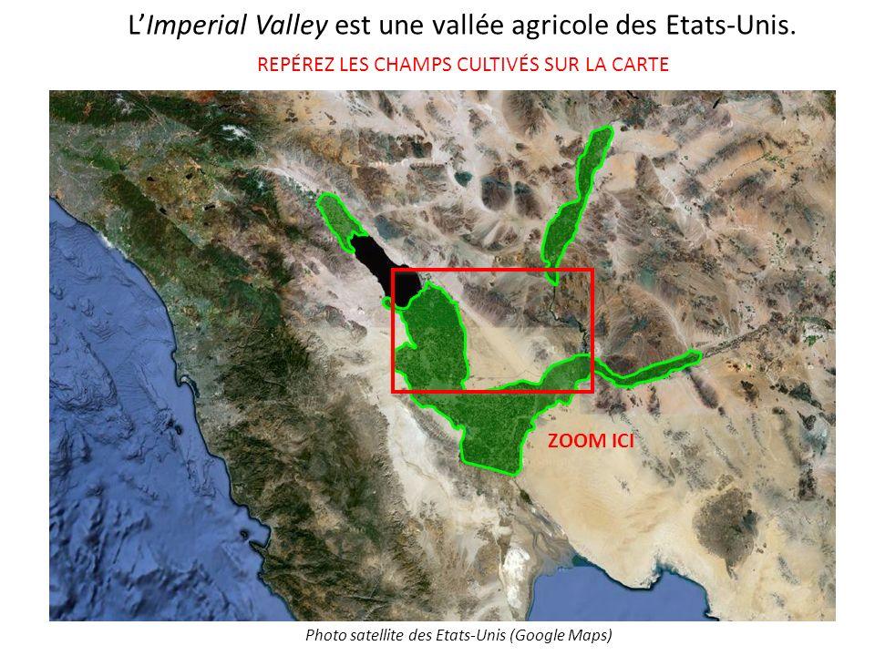 LImperial Valley est une vallée agricole des Etats-Unis. REPÉREZ LES CHAMPS CULTIVÉS SUR LA CARTE Photo satellite des Etats-Unis (Google Maps) ZOOM IC