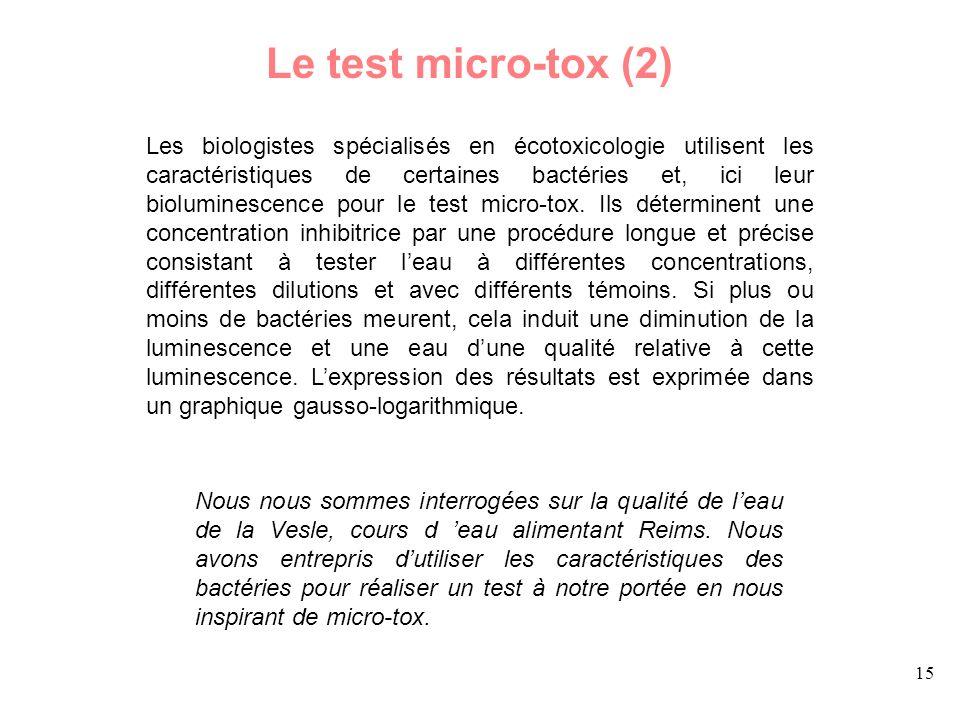 15 Les biologistes spécialisés en écotoxicologie utilisent les caractéristiques de certaines bactéries et, ici leur bioluminescence pour le test micro-tox.