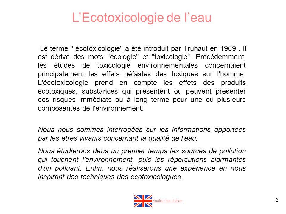 2 LEcotoxicologie de leau Le terme