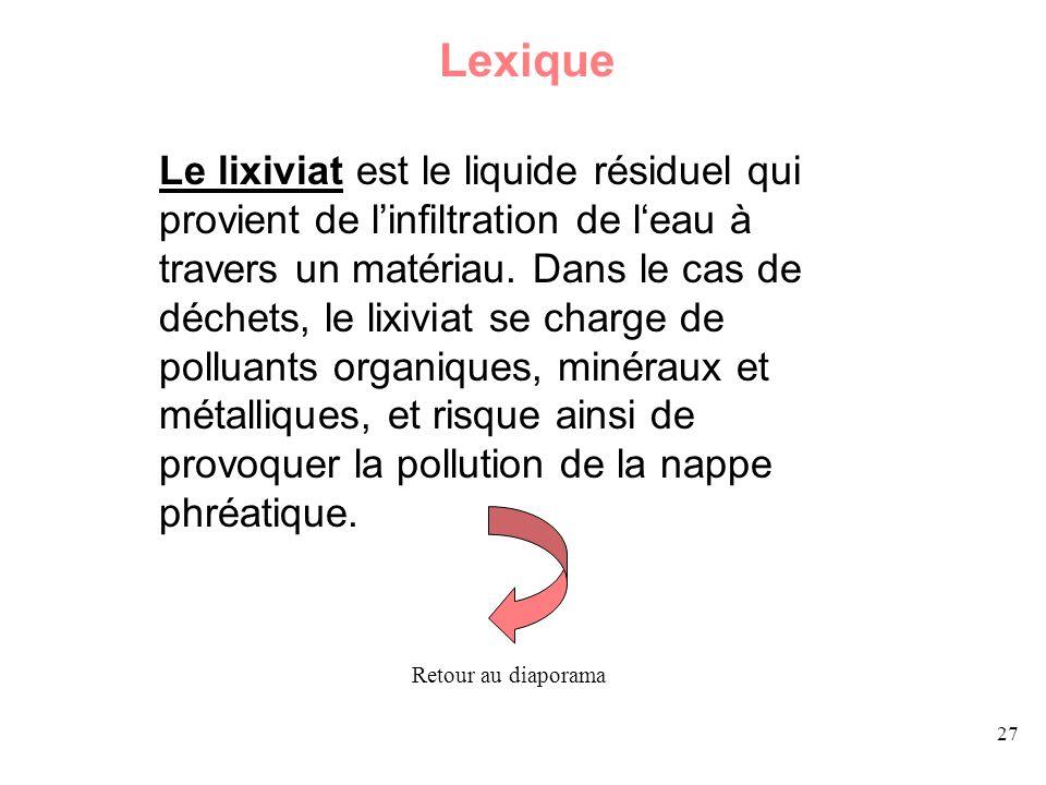 27 Lexique Le lixiviat est le liquide résiduel qui provient de linfiltration de leau à travers un matériau. Dans le cas de déchets, le lixiviat se cha