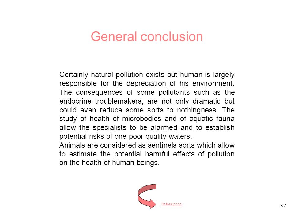32 Certainly natural pollution exists but human is largely responsible for the depreciation of his environment.