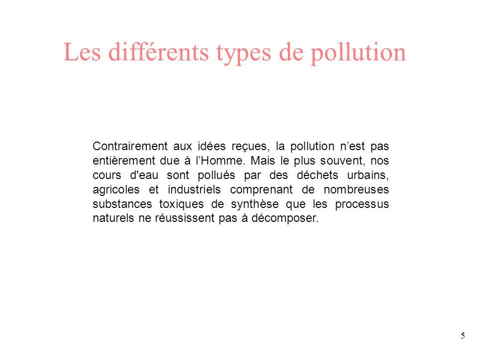 5 Les différents types de pollution Contrairement aux idées reçues, la pollution nest pas entièrement due à lHomme. Mais le plus souvent, nos cours d'