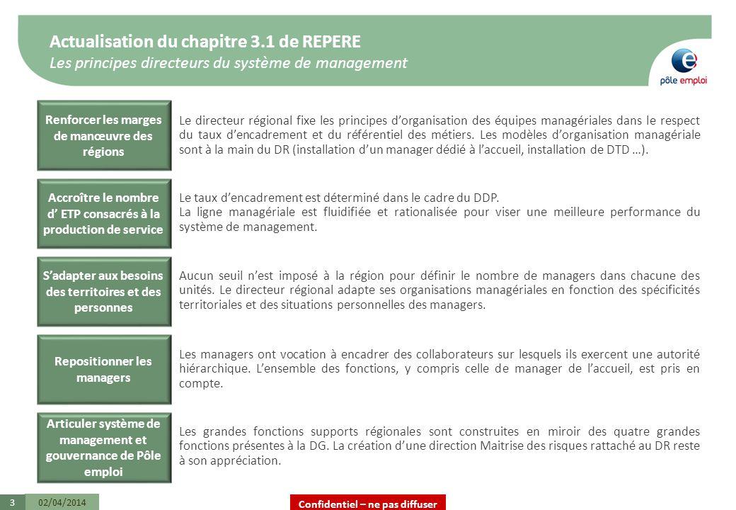 Confidentiel – ne pas diffuser Actualisation du chapitre 3.1 de REPERE Les principes directeurs du système de management 02/04/20143 Le directeur régi