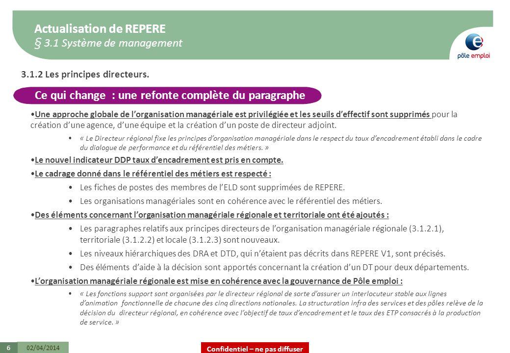 Confidentiel – ne pas diffuser Actualisation de REPERE § 3.1 Système de management 02/04/20146 3.1.2 Les principes directeurs. Une approche globale de