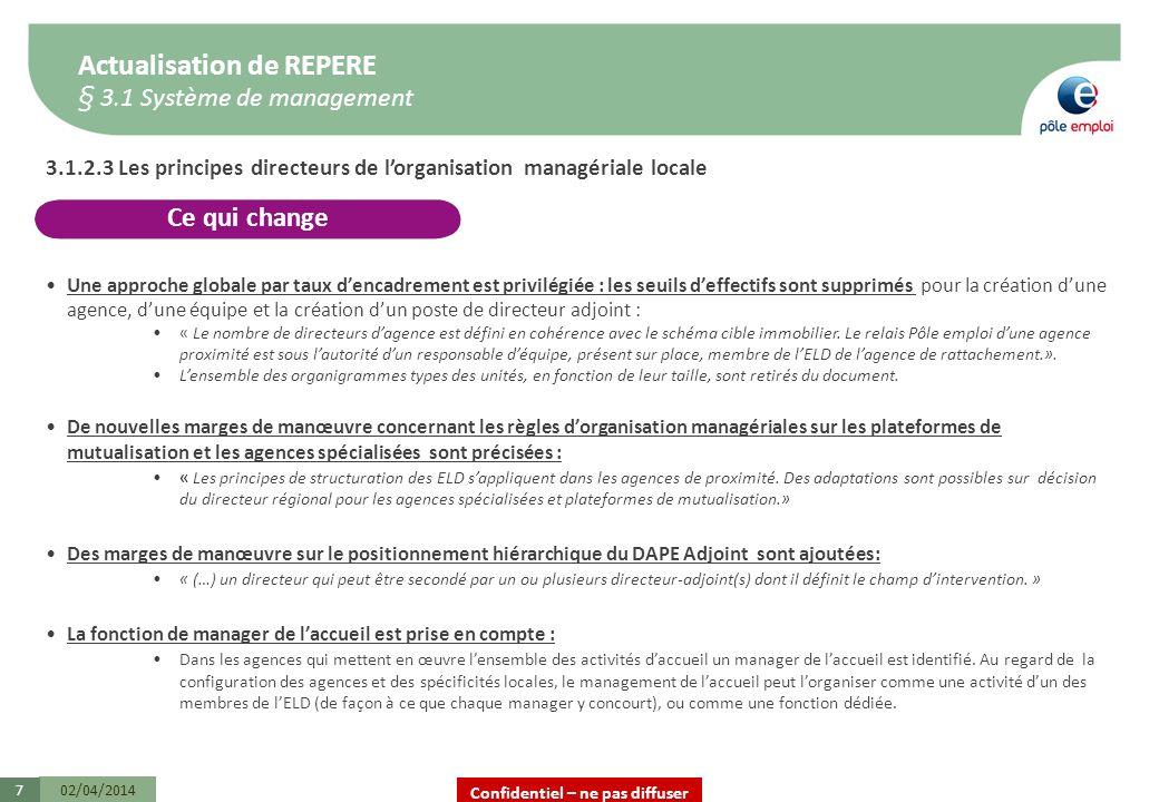 Confidentiel – ne pas diffuser 02/04/20147 3.1.2.3 Les principes directeurs de lorganisation managériale locale Une approche globale par taux dencadre