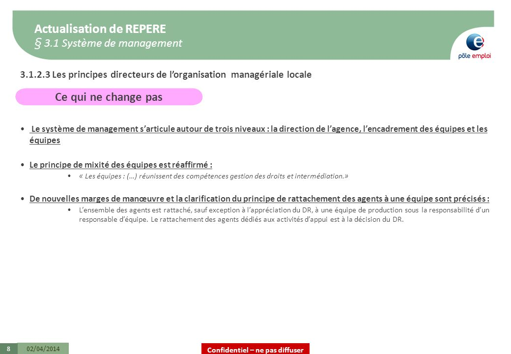 Confidentiel – ne pas diffuser 02/04/20148 3.1.2.3 Les principes directeurs de lorganisation managériale locale Le système de management sarticule aut