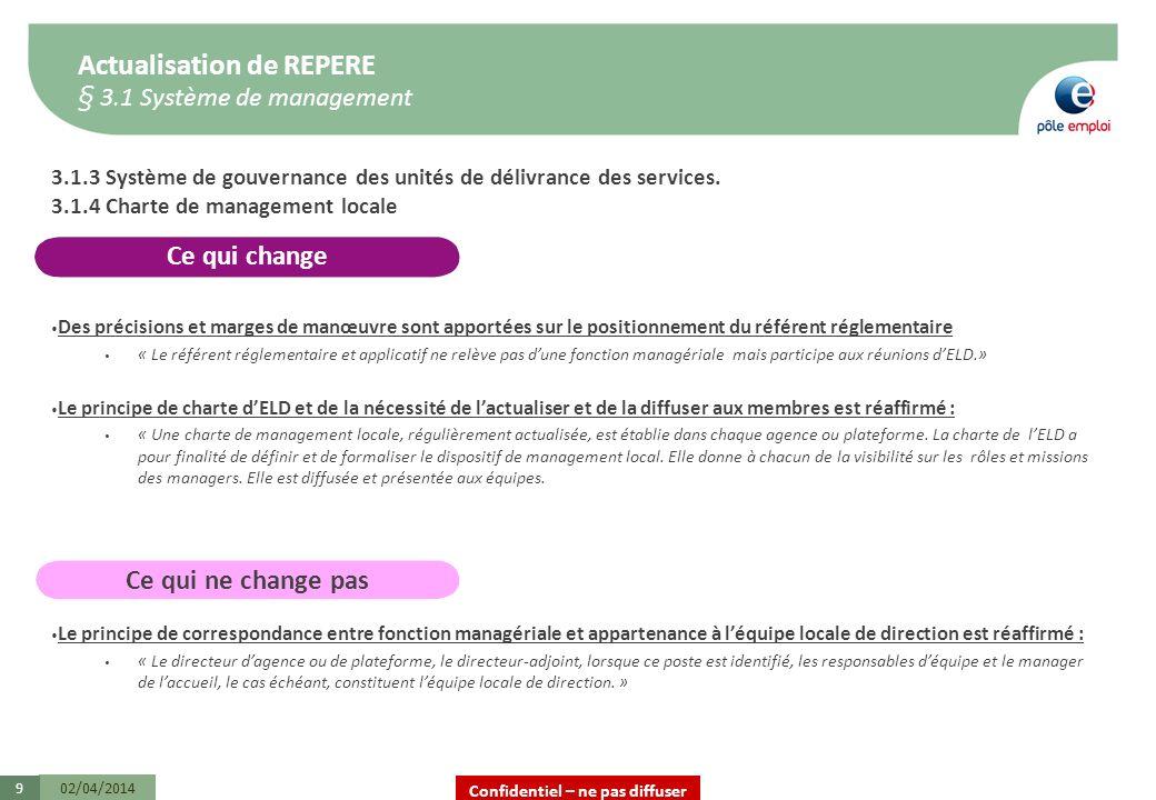 Confidentiel – ne pas diffuser 02/04/20149 3.1.3 Système de gouvernance des unités de délivrance des services. 3.1.4 Charte de management locale Des p