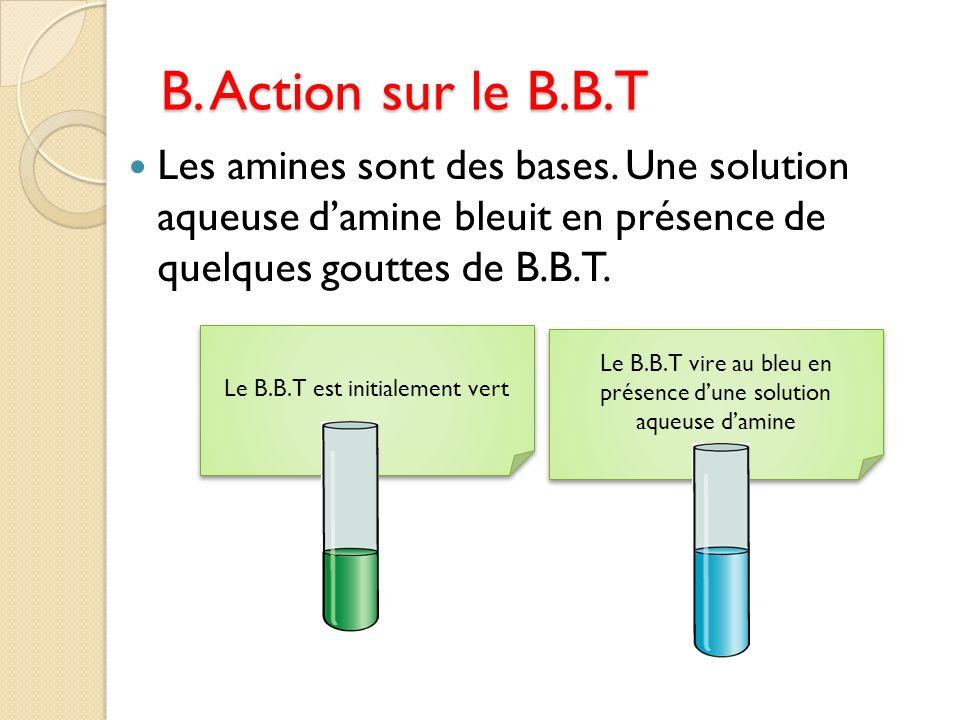 Le B.B.T vire au bleu en présence dune solution aqueuse damine Le B.B.T est initialement vert B. Action sur le B.B.T Les amines sont des bases. Une so