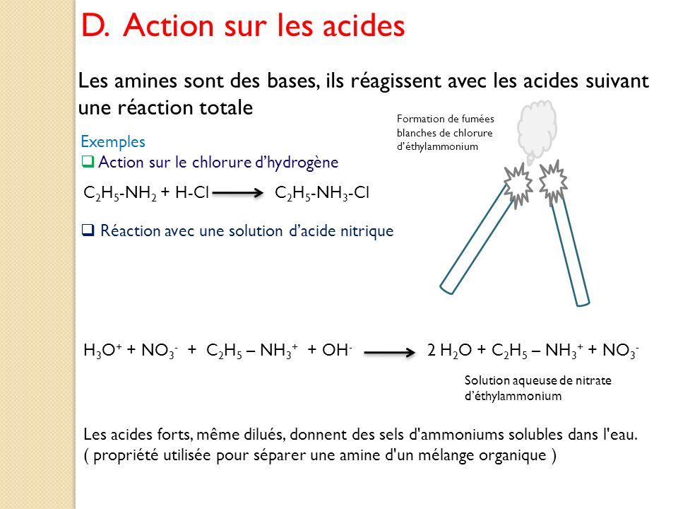 D. Action sur les acides Les amines sont des bases, ils réagissent avec les acides suivant une réaction totale Exemples Action sur le chlorure dhydrog