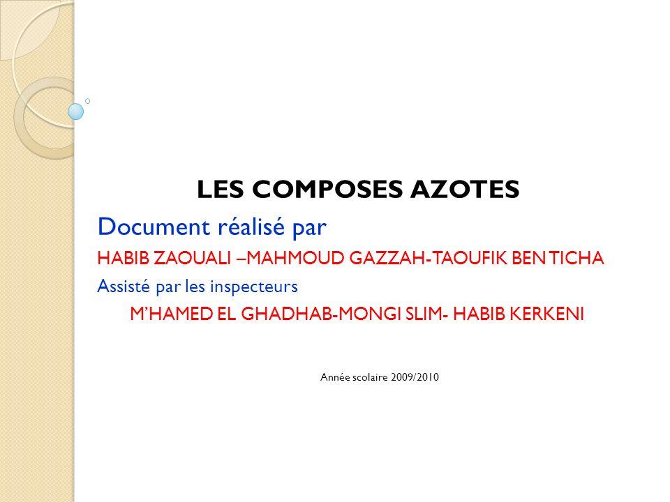 LES COMPOSES AZOTES Document réalisé par HABIB ZAOUALI –MAHMOUD GAZZAH-TAOUFIK BEN TICHA Assisté par les inspecteurs MHAMED EL GHADHAB-MONGI SLIM- HAB