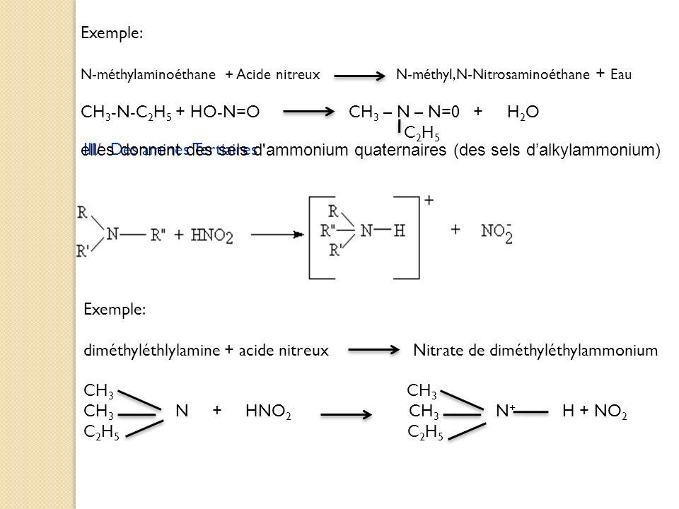 Exemple: N-méthylaminoéthane + Acide nitreux N-méthyl,N-Nitrosaminoéthane + Eau CH 3 -N-C 2 H 5 + HO-N=O CH 3 – N – N=0 + H 2 O C 2 H 5 III/ Des amine