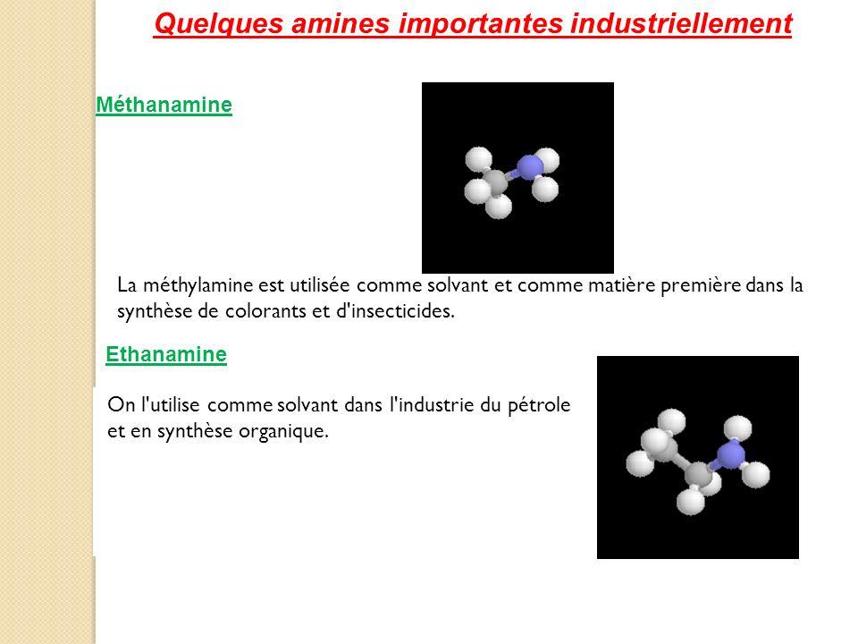 La méthylamine est utilisée comme solvant et comme matière première dans la synthèse de colorants et d'insecticides. Quelques amines importantes indus