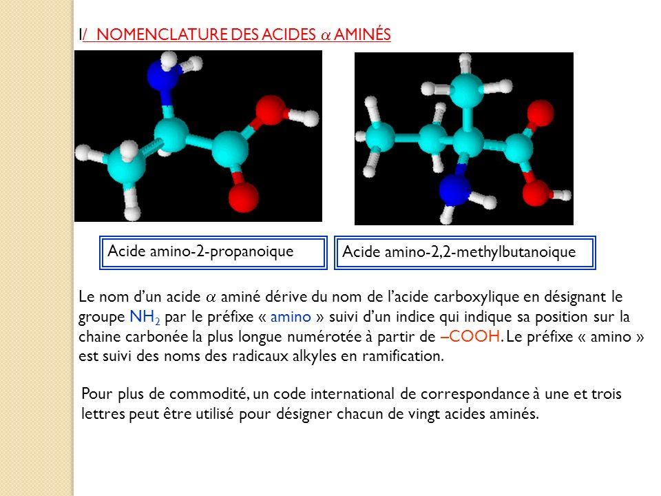 I/ NOMENCLATURE DES ACIDES AMINÉS Acide amino-2-propanoique Acide amino-2,2-methylbutanoique Le nom dun acide aminé dérive du nom de lacide carboxyliq