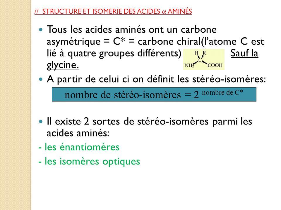 // STRUCTURE ET ISOMERIE DES ACIDES AMINÉS Tous les acides aminés ont un carbone asymétrique = C* = carbone chiral(latome C est lié à quatre groupes d