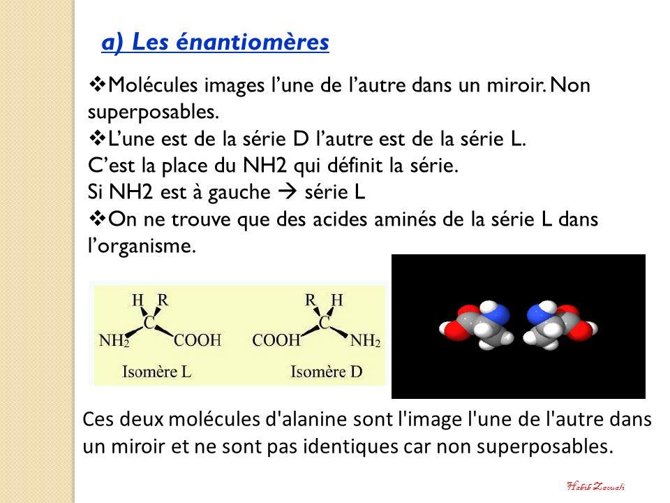 a) Les énantiomères Molécules images lune de lautre dans un miroir. Non superposables. Lune est de la série D lautre est de la série L. Cest la place