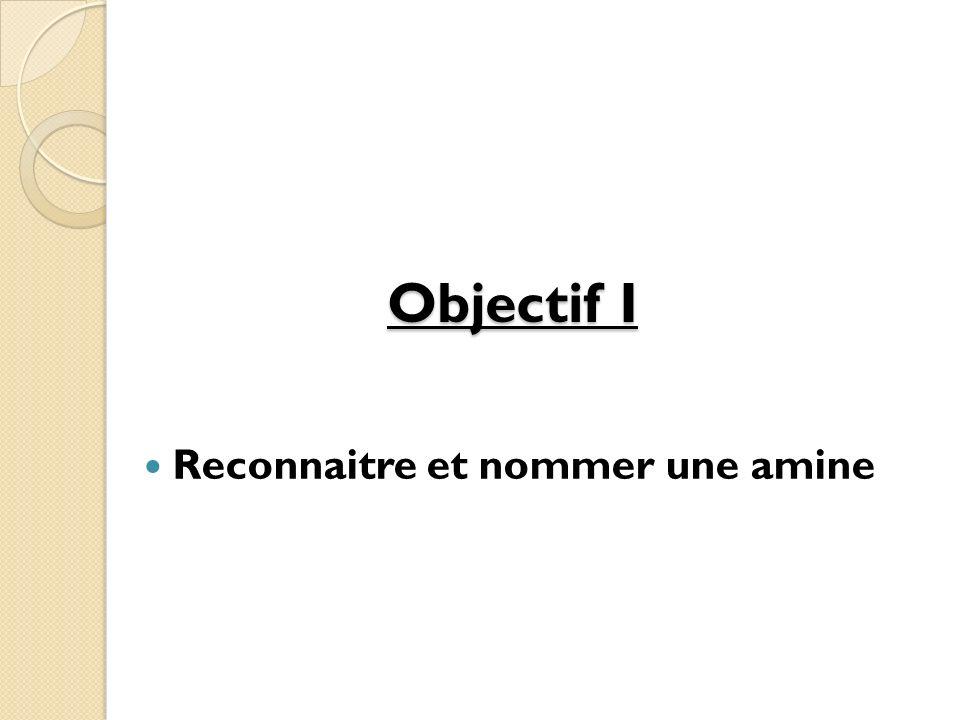 Objectif I Reconnaitre et nommer une amine