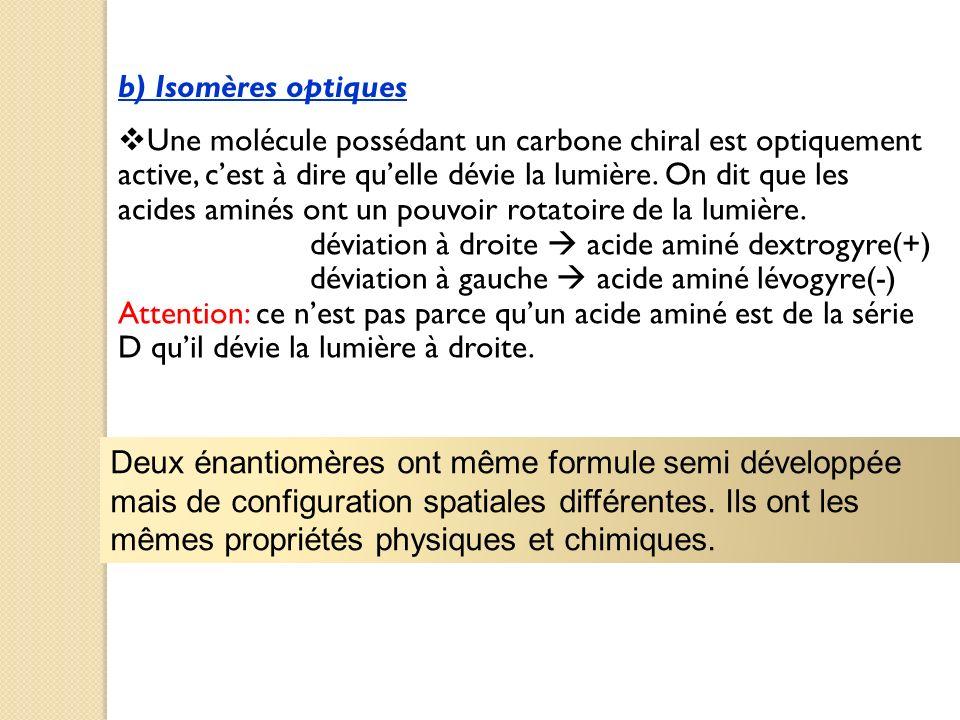 b) Isomères optiques Une molécule possédant un carbone chiral est optiquement active, cest à dire quelle dévie la lumière. On dit que les acides aminé