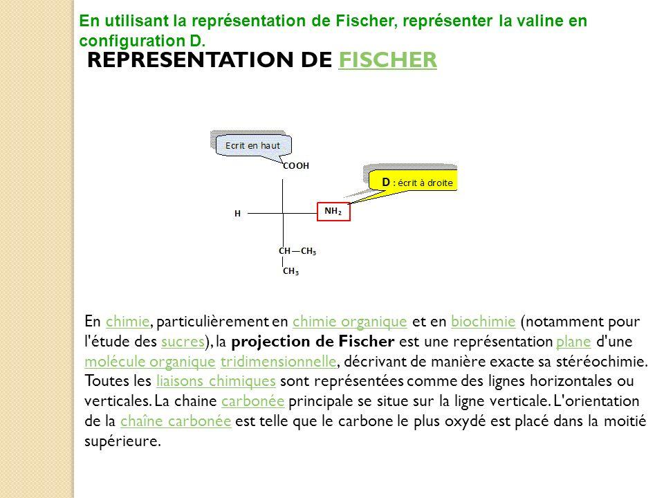 REPRESENTATION DE FISCHERFISCHER En utilisant la représentation de Fischer, représenter la valine en configuration D. En chimie, particulièrement en c