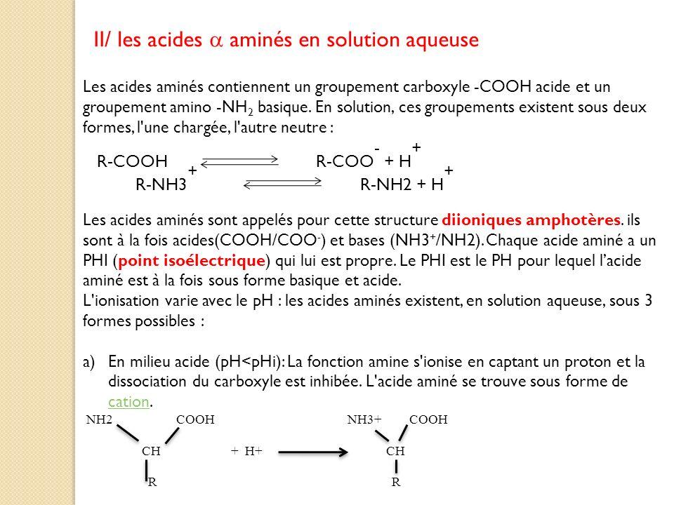 II/ les acides aminés en solution aqueuse Les acides aminés contiennent un groupement carboxyle -COOH acide et un groupement amino -NH 2 basique. En s
