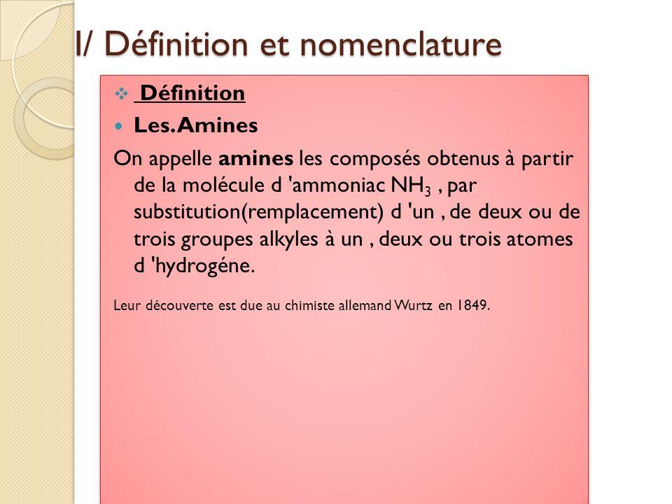 I/ Définition et nomenclature Définition Les. Amines On appelle amines les composés obtenus à partir de la molécule d 'ammoniac NH 3, par substitution