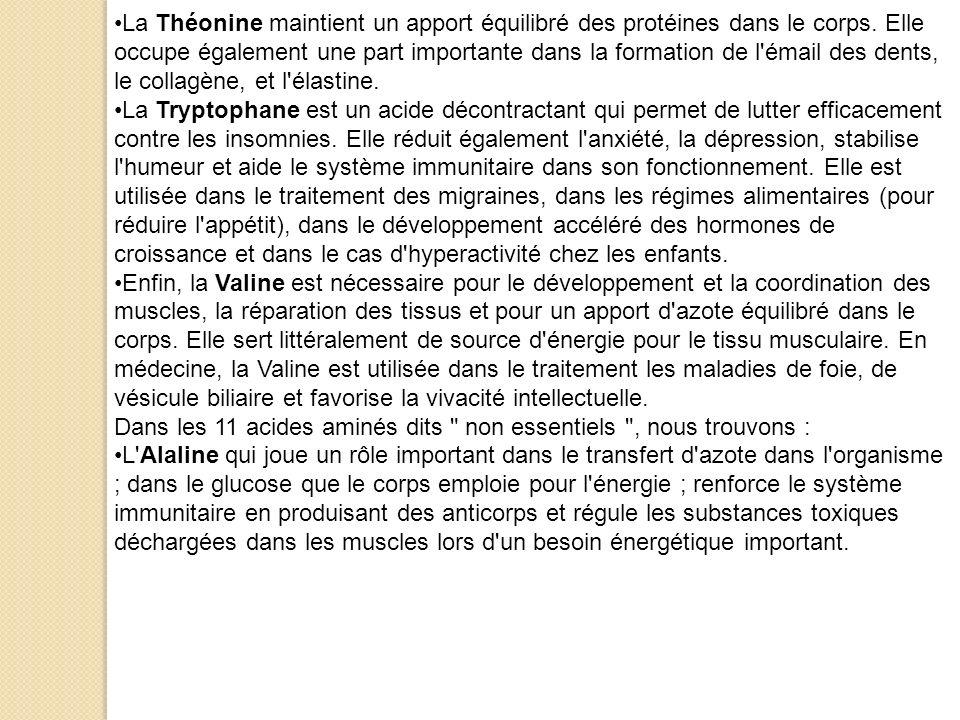 La Théonine maintient un apport équilibré des protéines dans le corps. Elle occupe également une part importante dans la formation de l'émail des dent