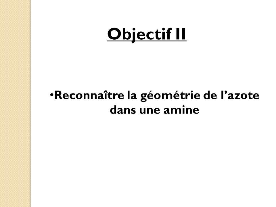 Objectif II Reconnaître la géométrie de lazote dans une amine