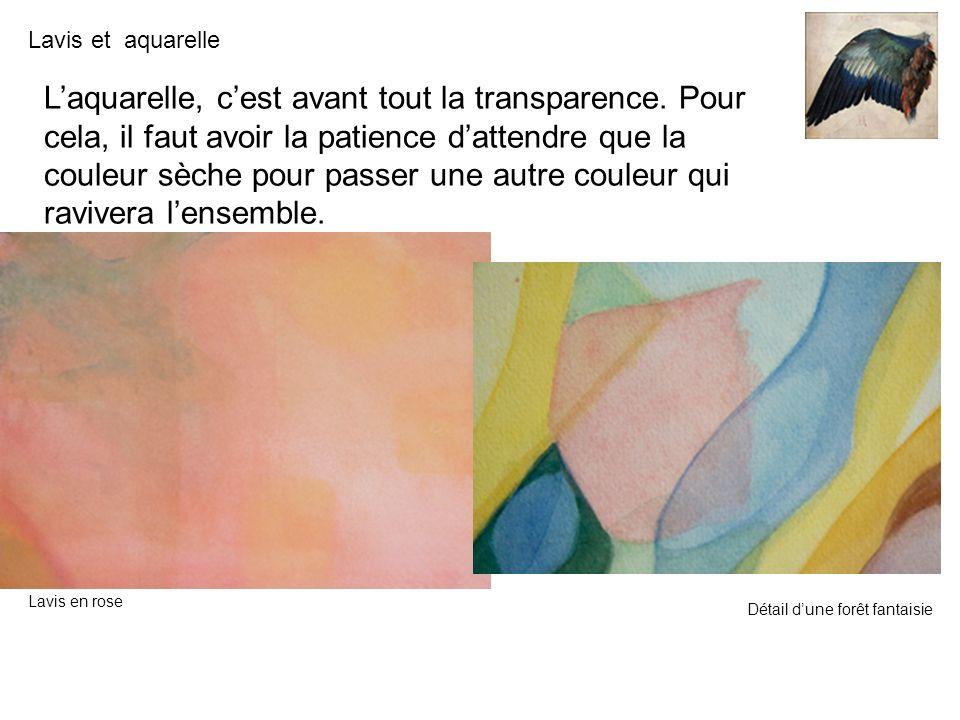 Lavis et aquarelle Laquarelle, cest avant tout la transparence. Pour cela, il faut avoir la patience dattendre que la couleur sèche pour passer une au