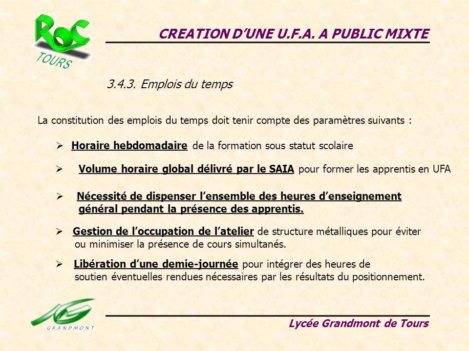 CREATION DUNE U.F.A. A PUBLIC MIXTE Lycée Grandmont de Tours 3.4.3. Emplois du temps La constitution des emplois du temps doit tenir compte des paramè