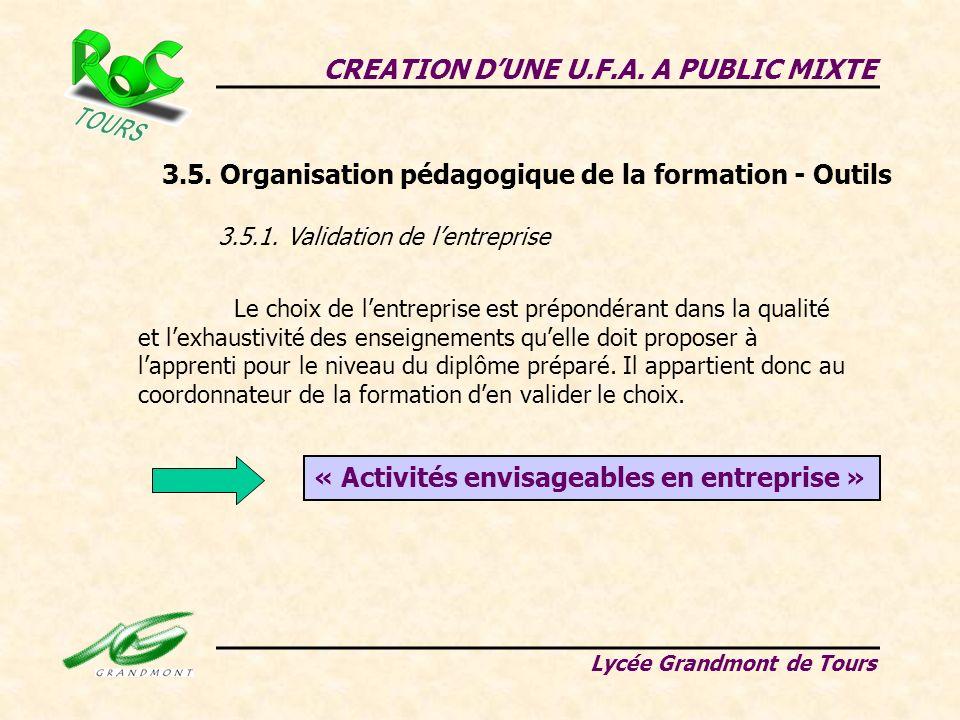 CREATION DUNE U.F.A. A PUBLIC MIXTE Lycée Grandmont de Tours 3.5. Organisation pédagogique de la formation - Outils 3.5.1. Validation de lentreprise L