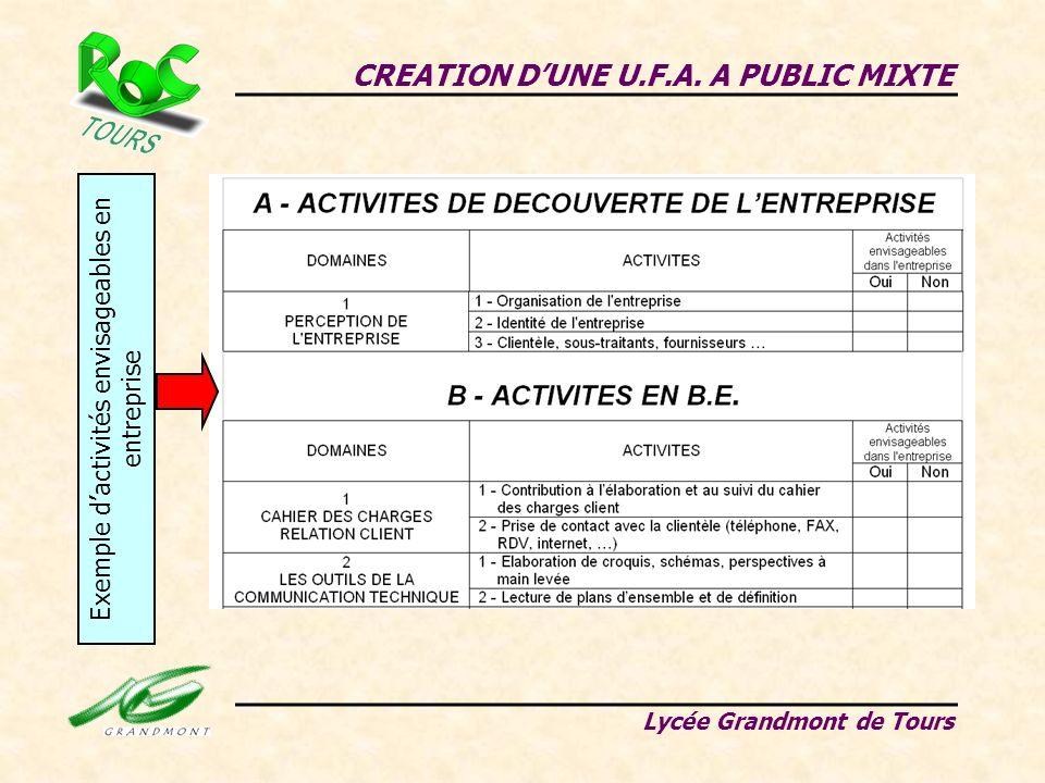 CREATION DUNE U.F.A. A PUBLIC MIXTE Lycée Grandmont de Tours Exemple dactivités envisageables en entreprise