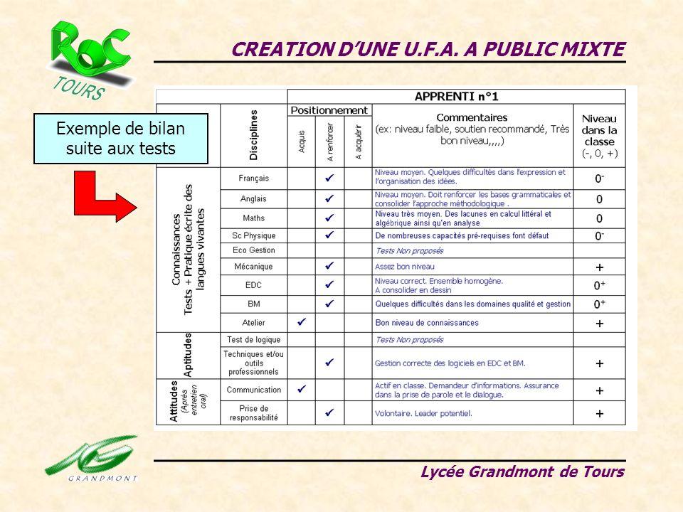 CREATION DUNE U.F.A. A PUBLIC MIXTE Lycée Grandmont de Tours Exemple de bilan suite aux tests