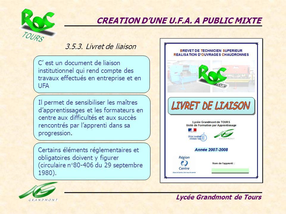 3.5.3. Livret de liaison CREATION DUNE U.F.A. A PUBLIC MIXTE Lycée Grandmont de Tours C est un document de liaison institutionnel qui rend compte des