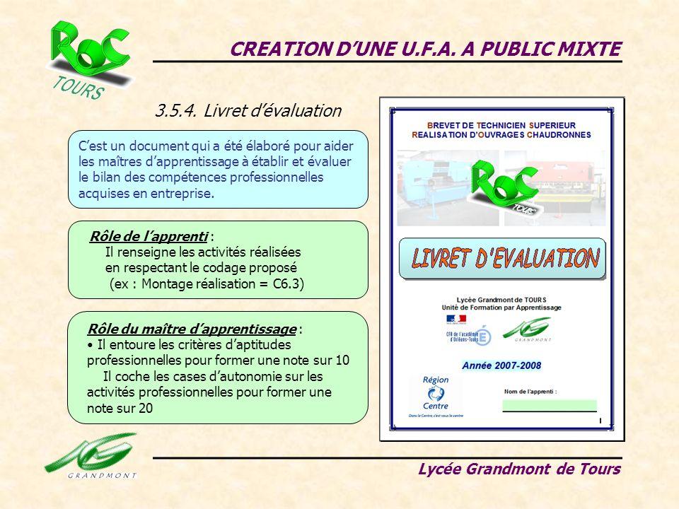 3.5.4. Livret dévaluation CREATION DUNE U.F.A. A PUBLIC MIXTE Lycée Grandmont de Tours Cest un document qui a été élaboré pour aider les maîtres dappr