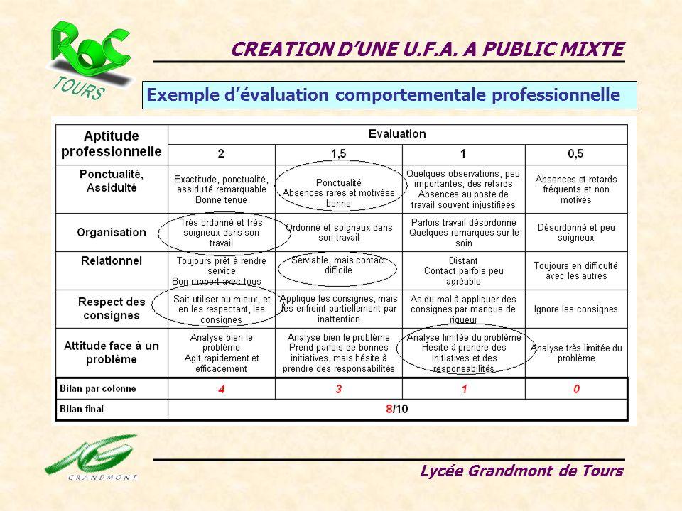 CREATION DUNE U.F.A. A PUBLIC MIXTE Lycée Grandmont de Tours Exemple dévaluation comportementale professionnelle