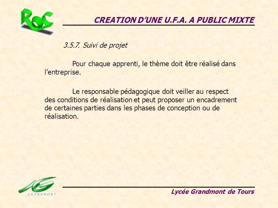 3.5.7. Suivi de projet CREATION DUNE U.F.A. A PUBLIC MIXTE Lycée Grandmont de Tours Pour chaque apprenti, le thème doit être réalisé dans lentreprise.