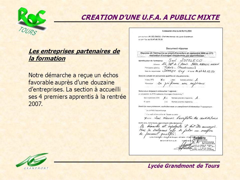 CREATION DUNE U.F.A. A PUBLIC MIXTE Lycée Grandmont de Tours Les entreprises partenaires de la formation Notre démarche a reçue un échos favorable aup