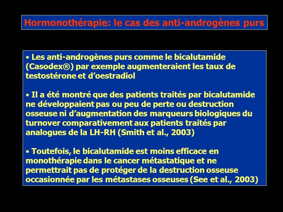 Cancer de la prostate et intégrité osseuse Le traitement hormonal (orchidectomie ou agonsites de la LH-RH) induit une résorption osseuse Cest un phéno