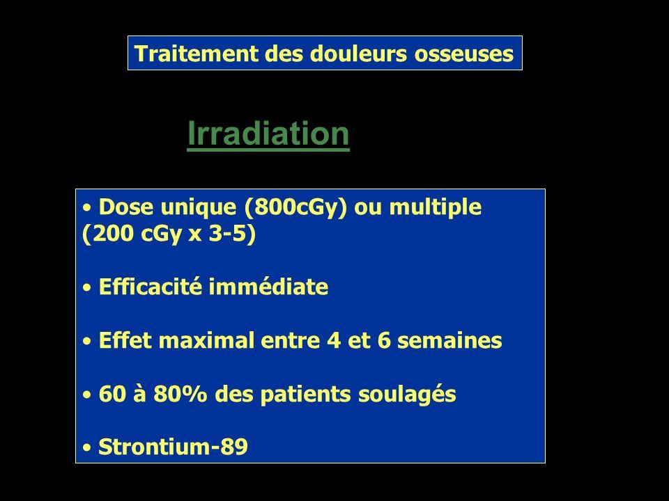 Traitement des douleurs osseuses Pharmacologique Acétaminophène Opiacés AINS Corticoïdes Biphosphonates: pamidronate, clodronate, zoledronate (Zometa®