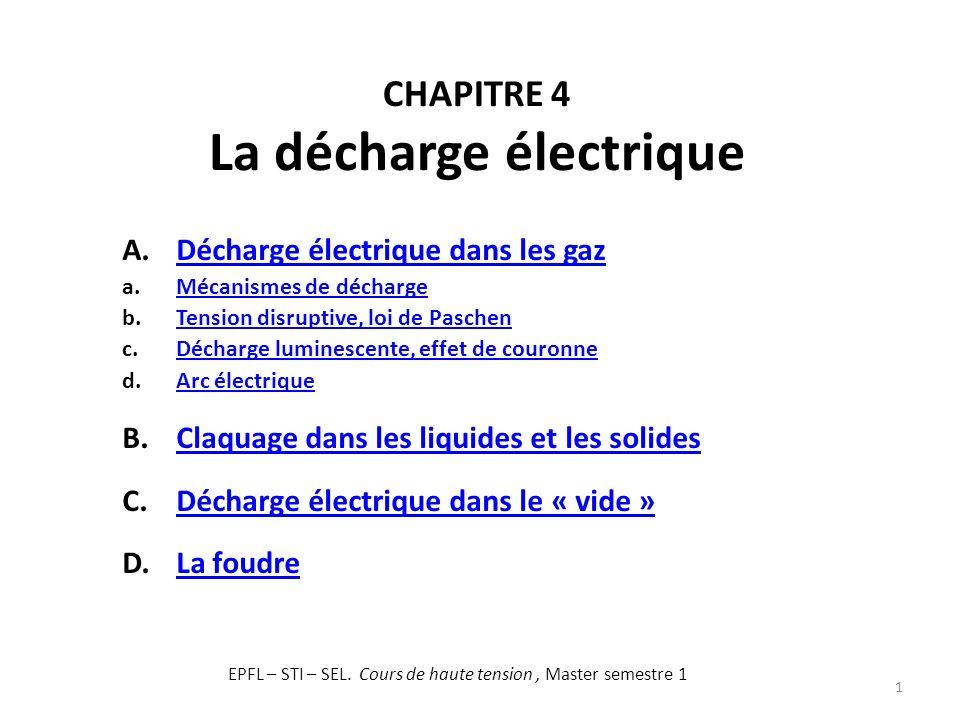 CHAPITRE 4 La décharge électrique 1 A.Décharge électrique dans les gazDécharge électrique dans les gaz a.Mécanismes de déchargeMécanismes de décharge