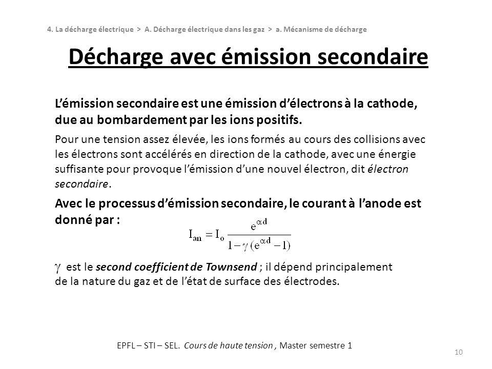 Décharge avec émission secondaire 10 4. La décharge électrique > A. Décharge électrique dans les gaz > a. Mécanisme de décharge Lémission secondaire e